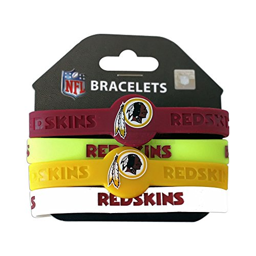 Rubber Washington Redskins Bracelets (NFL Washington Redskins Silicone Rubber Wrist Band Bracelet (Set of 4), One Size,)