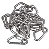 CNBTR M6x60MM Carabiner Snap Hook Link Spring Clasps 304 Stainless Steel Safety Mountaineering Buckle Set of 20