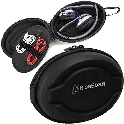 NiceEbag Headphone Case Storage Bag Ellipse Shaped for Wired Wireless Headset Earphone Earbuds MP3/ MP4/ IPod Beats Bose Sony/ Travel Bag with Space for Cable/ Parts and Accessories Bluetooth (Black)