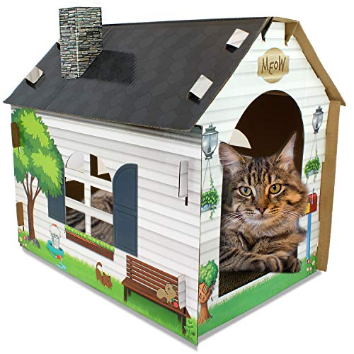ASPCA Cat House & Scratcher w/ Bonus Catnip Included