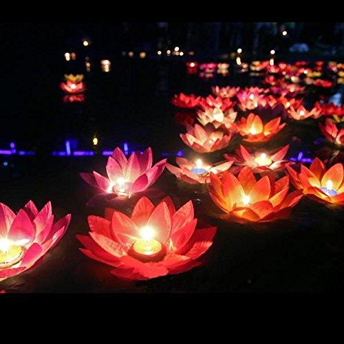 Pegasus Silk Lotus Flower Wishing Lamp Floating Water Candle Light