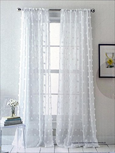 DKNY Pair of Window Rod Pocket Panels Curtains Drapery Set of 2 Solid White with Large Round Tufts Retro Pattern — Espirit — 50 Inches by 96 Inches