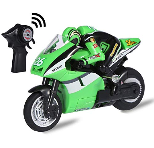 Top Race 4 Channel RC Remote Control Motorcycle Goes on 2 Wheels with Built in Gyroscope, 1:20 Scale ... (Green) (Motorcycle Control Remote)