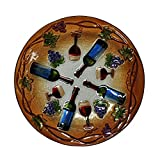 Continental Art Center Wine Time Glass Plate, 18-Inch