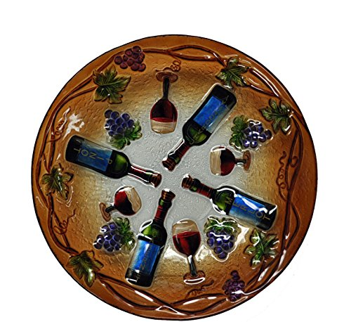 Continental Art Center Wine Time Glass Plate, 18-Inch by Continental Art