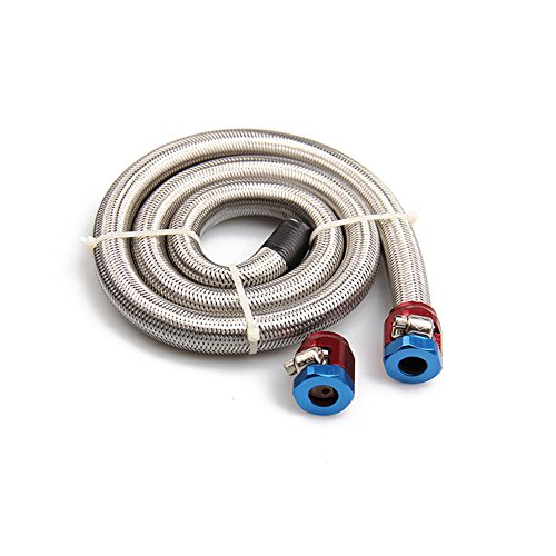 Big-Autoparts 3/8'' x 3' Universal Stainless Steel Braided Fuel Line with 2 Hose (Flexible Fuel Line)