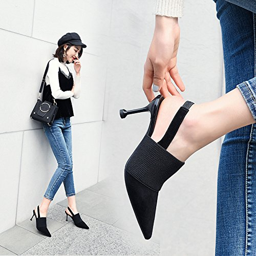 Tacón Alto Rosa Sandalias De De Tacón De De Zapatos De De Vacíos Mujer Alto Zapatos Zapatos Alto Tacón VIVIOO Black Sandalias Verano Mujer Baotou De Sandalias Mujer fqa4wvw