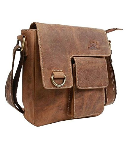 TUZECH Pure Leather Modern Styled Brown Stylish Handbag Satchel Bag Leather Bag -Fits Laptop Up To 11 Inches by Tuzech