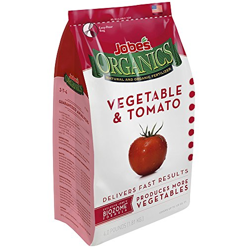 Jobe's Organics Vegetable & Tomato Fertilizer 2-5-3 Organic Fast Acting Granular Fertilizer with Biozome, 4 Pound Bag (Garden Tomato Plants)