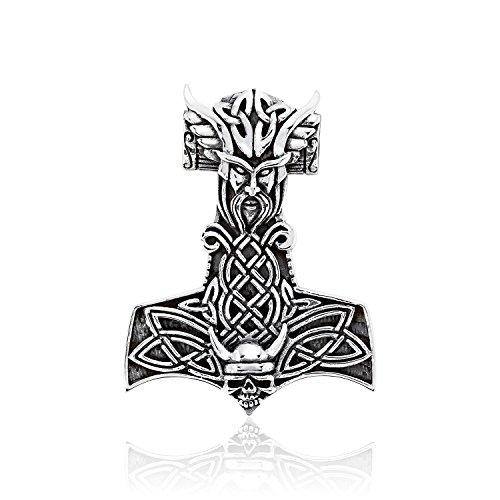 Celtic Warrior Jewellery - WithLoveSilver Solid 925 Sterling Silver Celtic Viking Skull Norse Warrior Hammer of Thor Mjolnir Pendant