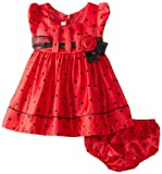 Bonnie Baby Baby Girls' Dot Satin Dress with Sash, Red, 18 Months