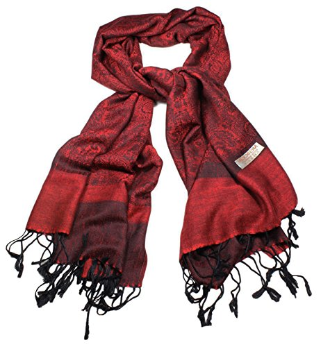 Women's Soft Pashmina and Silk Scarf Shawl Wrap by bogo Brands (Maroon)