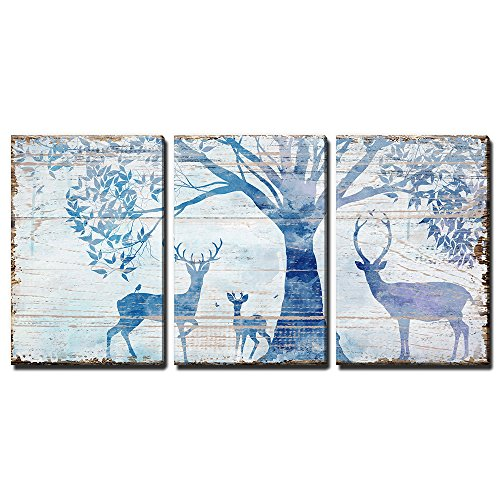 3 Panel Animal Deers in Forest under Tress Rustic Artwork on Wooden Background Gallery x 3 Panels