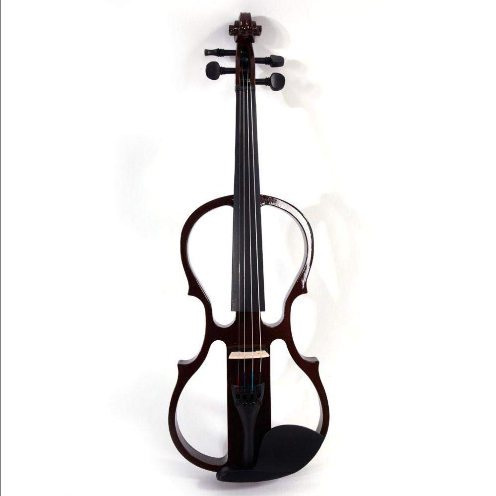 Brown 4/4 Solid Wood Electric/Silent Violin with Ebony Fittings - Full Size - Black Metallic by Aromzen (Image #4)