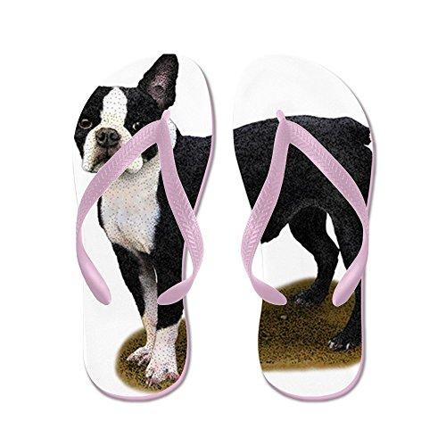 CafePress Boston Terrier - Flip Flops, Funny Thong Sandals, Beach Sandals Pink