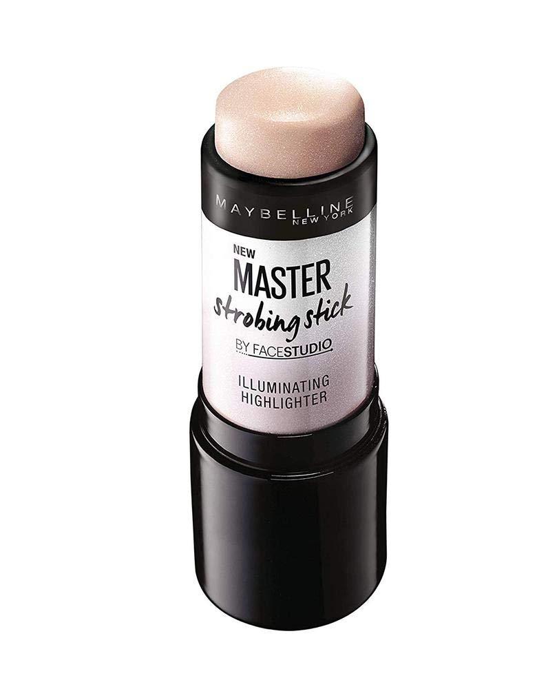 Iluminador en stick marca Maybelline para pieles medias con textura cremosa.