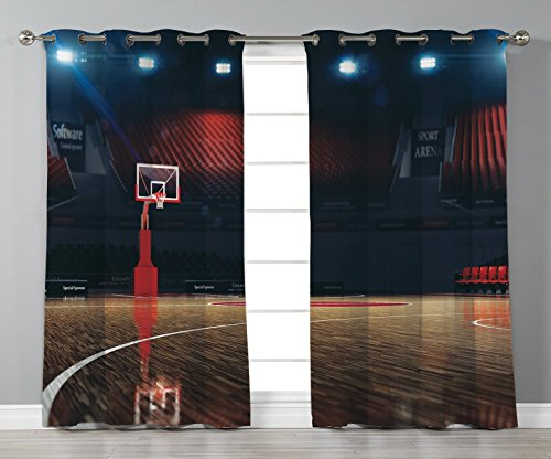Satin Grommet Window Curtains,Sports Decor,Picture of Empty Basketball Court Sport Arena with Wood Floor Print,Brown Black Red,2 Panel Set Window Drapes,for Living Room Bedroom Kitchen Cafe