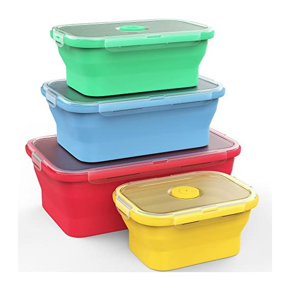 Vremi-Silicone-Food-Storage-Containers-with-BPA-Free-Airtight-Plastic-Lids-Set-of-4-Small-and-Large-Collapsible-Meal-Prep-Container-for-Kitchen-or-Kids-Lunch-Boxes-Microwave-and-Freezer-Safe
