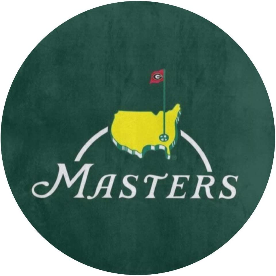 Lizixing Masters Tournament Augusta National Golf Round Area Rugs Coral Velvet Floor Mat Bathroom Rugs Cozy Shaggy Carpet for Sofa Bed