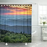 Emvency Shower Curtain Blue Ridge Parkway Scenic Landscape Appalachian Mountains Ridges Sunset Layers Over Great Smoky National Waterproof Polyester Fabric 72 x 72 inches Set with Hooks
