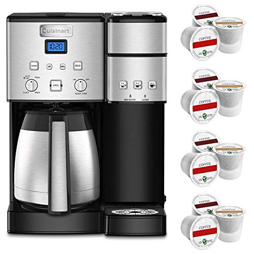 Cuisinart SS-20 Coffee Center 10-Cup Thermal Single-Serve Brewer Coffeemaker Silver (SS-20) with Victor Allen Colombian Single Serve Brew Cups of Coffee 12 K-Cups