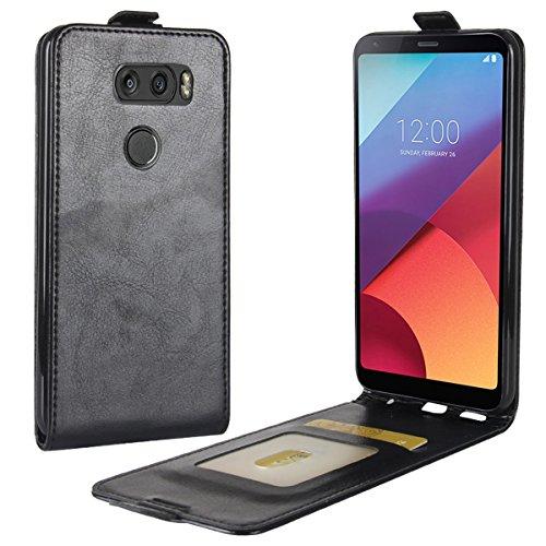 Case Vertical Black Flip (LG V30 Case,Gift_Source [Card Slot] [Vertical Folio Case] Premium PU Leather Flip Holster Ultra Slim Fit Up-Down Open Protective Cover & Magnet Closure For LG V30 (6.2 inch) [Black])