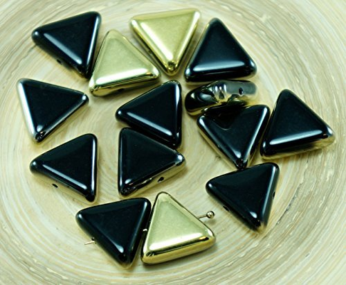 6pcs Metallic Gold Black Half Flat Large Triangle Czech Glass Beads Focal Pendant 12mm x 12mm