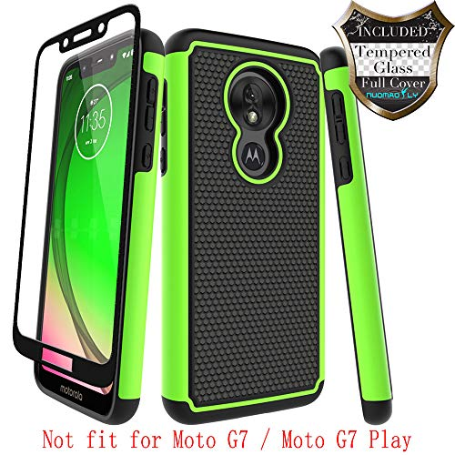 Moto G7 Power Case,Moto G7 Supra with [Tempered Glass Screen Protector] Nuomaofly Rugged Heavy Duty Shock-Absorption Protection (Green)