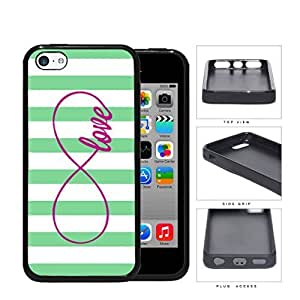 Teal Striped Love Infinity Symbol Rubber Silicone TPU Cell Phone Case Apple iPhone 5c