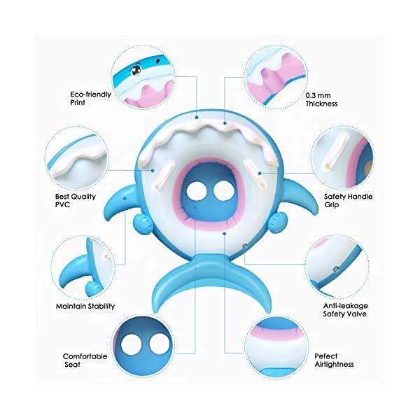 Flyboo Piscina Salvagente per Bambini Squalo Cavalcabile Gonfiabile con Tettuccio Mare Gonfiabile Ciambella per età 6-36… 5 spesavip