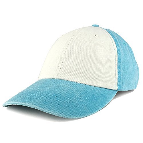 Two Tone Pigment Dyed Washed Unstructured Baseball Cap - CARRIBEAN IVORY - Carribean Hat