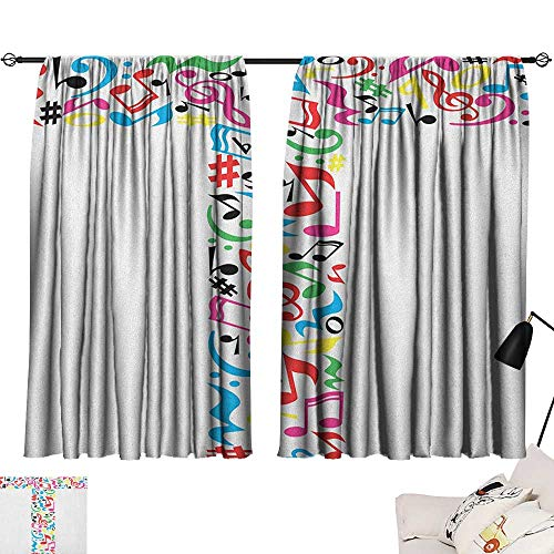 (Thermal Insulated Room Darkening Window Shade Letter T,Uppercase T Letter Colorful Sheet Music Elements Font Alphabet Design Art Style, Multicolor 54