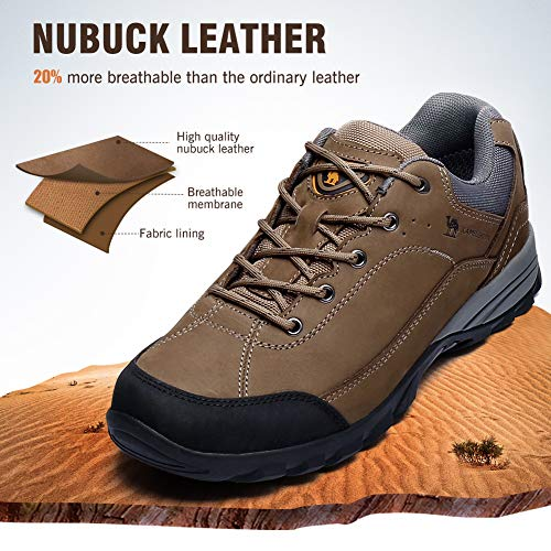 Hiking Walking Trekking Exploring Shoes Outdoor Khaki Camping Women's Breathable Men's Climbing for Camel Leather Lightweight XUqnO