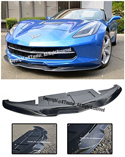 Aero Bottom Line Style Carbon Fiber Front Bumper Lower Lip Kit Splitter Spoiler Wing For 14-Up Chevrolet Corvette C7 2014 2015 2016 2017 14 15 16 17 Z51 (Fiber Carbon Splitter Front)