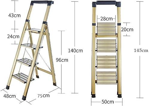 Escaleras Escalera plegable portátil de aleación de aluminio de 4 pasos, Escalera de tijera, Escalera telescópica, Escalera de mano for uso múltiple, Loft, Jardín, Oficina de usos múltiples, Antidesli: Amazon.es: Bricolaje y