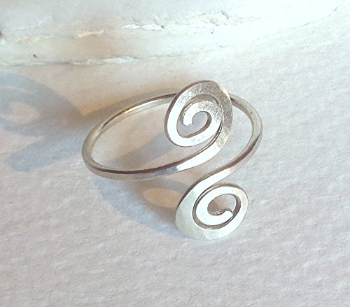 Toe-Midi-Knuckle Ring Hammered Dual Spiral Adjustable size