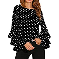 Hankyky Women Bell Sleeve T-Shirts Plus Size Loose Flare Long Sleeve Polka Dot Blouses Tops