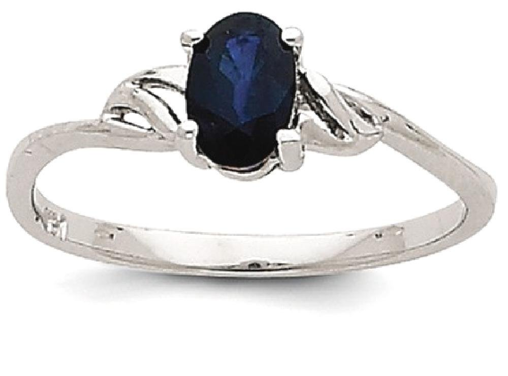 ICE CARATS 14k White Gold Sapphire Birthstone Band Ring Size 7.00 Stone September Oval Style Fine Jewelry Gift Set For Women Heart