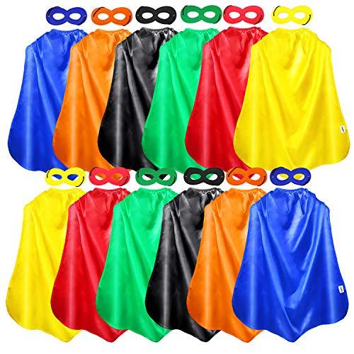 AIMIKE Superhero Capes and Masks, 12 Packs Kids DIY Dress Up Superhero Costume, with Superhero -