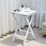 ALUS- Nordic Simplicity Style Single Layer Pine Material Floorstanding Style Flower Racks,Folding Tables Coffee Table Outdoor Small Table ( Color : White )