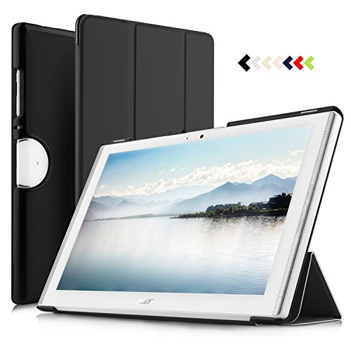 Luibor Acer Iconia One 10 B3-A50 Tablet Case - Slim Smart Folding Cover Case Ultra Lightweight leather case for ACER Iconia One 10 B3-A50 Tablet (Black) (Acer Iconia Tab Case)