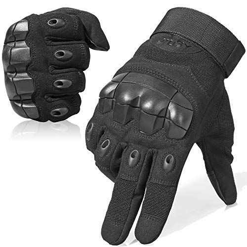 JIUSY Touch Screen Military Rubber Hard Knuckle Tactical Gloves Full Finger Airsoft Paintball Outdoor Army Gear Sports Cycling Motorcycle Riding Shooting Hunting Size Medium Black ()