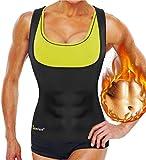 Junlan Neoprene Sauna Sweat Vest Waist Trainer Slimming Vest for Women Weight Loss Waist Shaper Belt (XXL, Black Sauna Top)