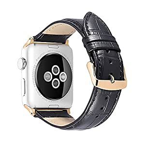 iStrap Alligator Grain Calf Leather Watch Band fit Apple iWatch 38mm Model Rose Gold Prev Tang Buckle