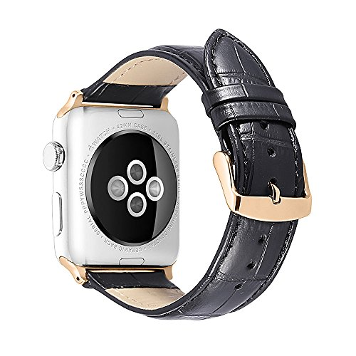 (iStrap Alligator Grain Calf Leather Compatible/Replacement for Apple Watch Band Strap iWatch Series 4 3 2 1 Edition Sport 38mm 42mm 40mm 44mm)