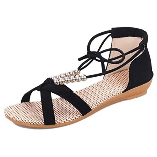 YING LAN Women Low Heeled Summer Wedges Alone Casual Fashion Shoes Woman Sandal Black