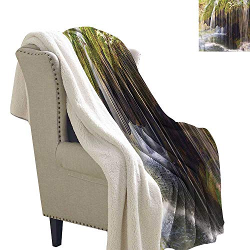 Waterfall Throw Blanket Idyllic Scenery Forest 60x78 Inch