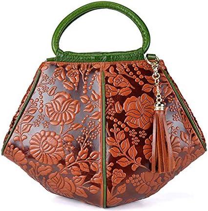 36 * 13 * 27 Cmを、牛革、ショルダーバッグメッセンジャーバッグ、ハンドバッグ - ヴィンテージ文化スタイルの三次元錦織ハンドバッグ 実用的 (色 : Brown)