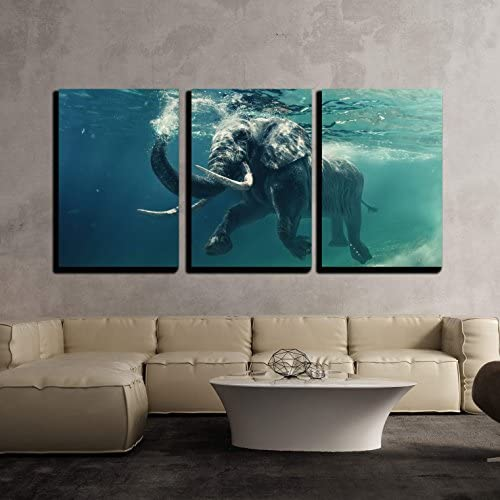 Swimming Elephant Underwater African Elephant in Ocean with Mirrors and Ripples x3 Panels
