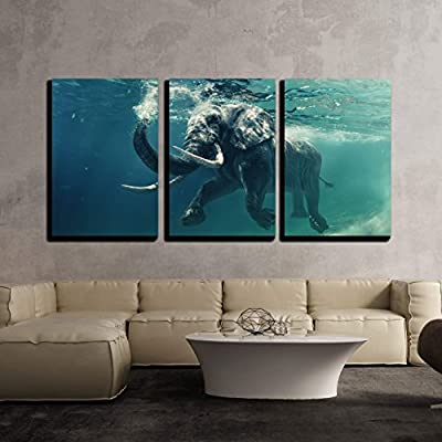 Swimming Elephant Underwater African Elephant in Ocean with Mirrors and Ripples x3 Panels, Top Quality Design, Wonderful Piece of Art